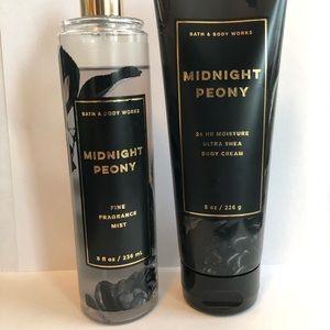 B&BW Midnight Peony fragrance mist and body cream